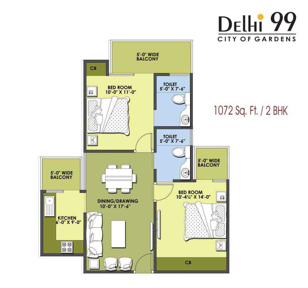 1072-Sq. Ft./ 2 BHK