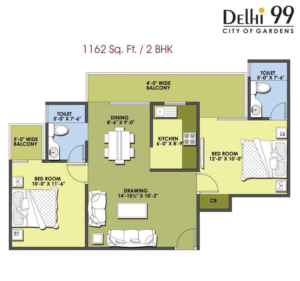 1162-Sq. Ft./ 2 BHK