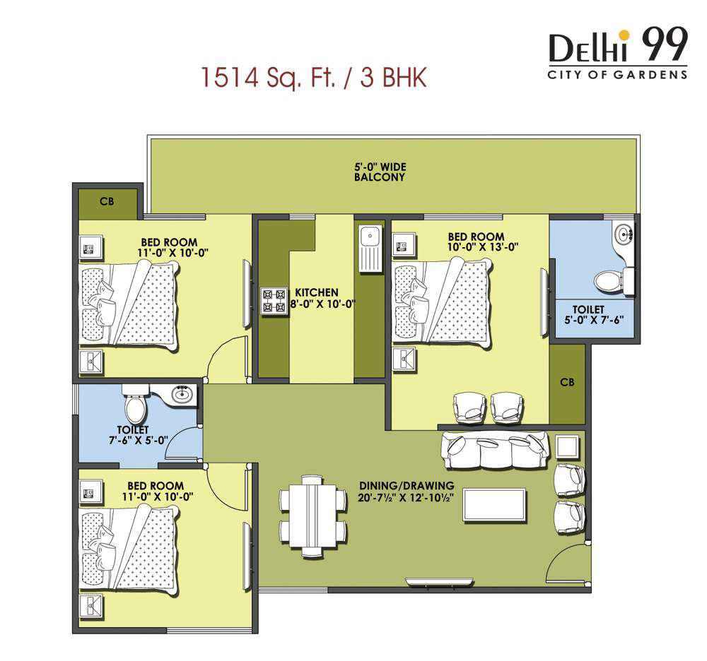 1514-Sq. Ft./ 3 BHK