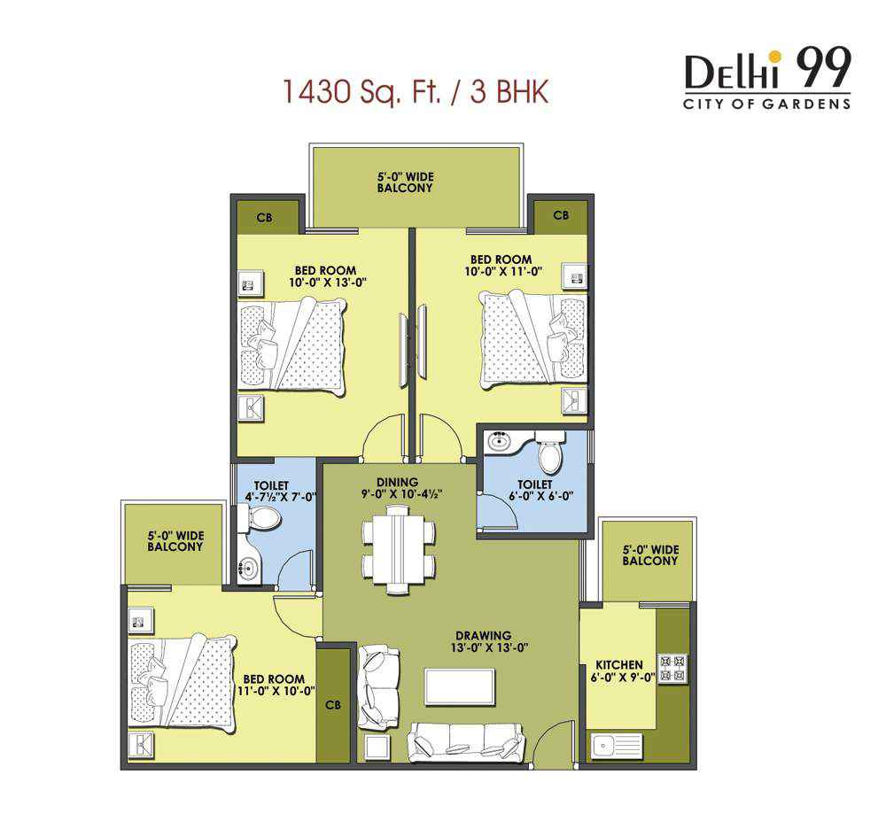 1430-Sq. Ft./ 3 BHK