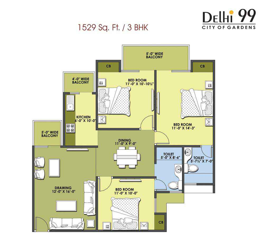 1529-Sq. Ft./ 3 BHK