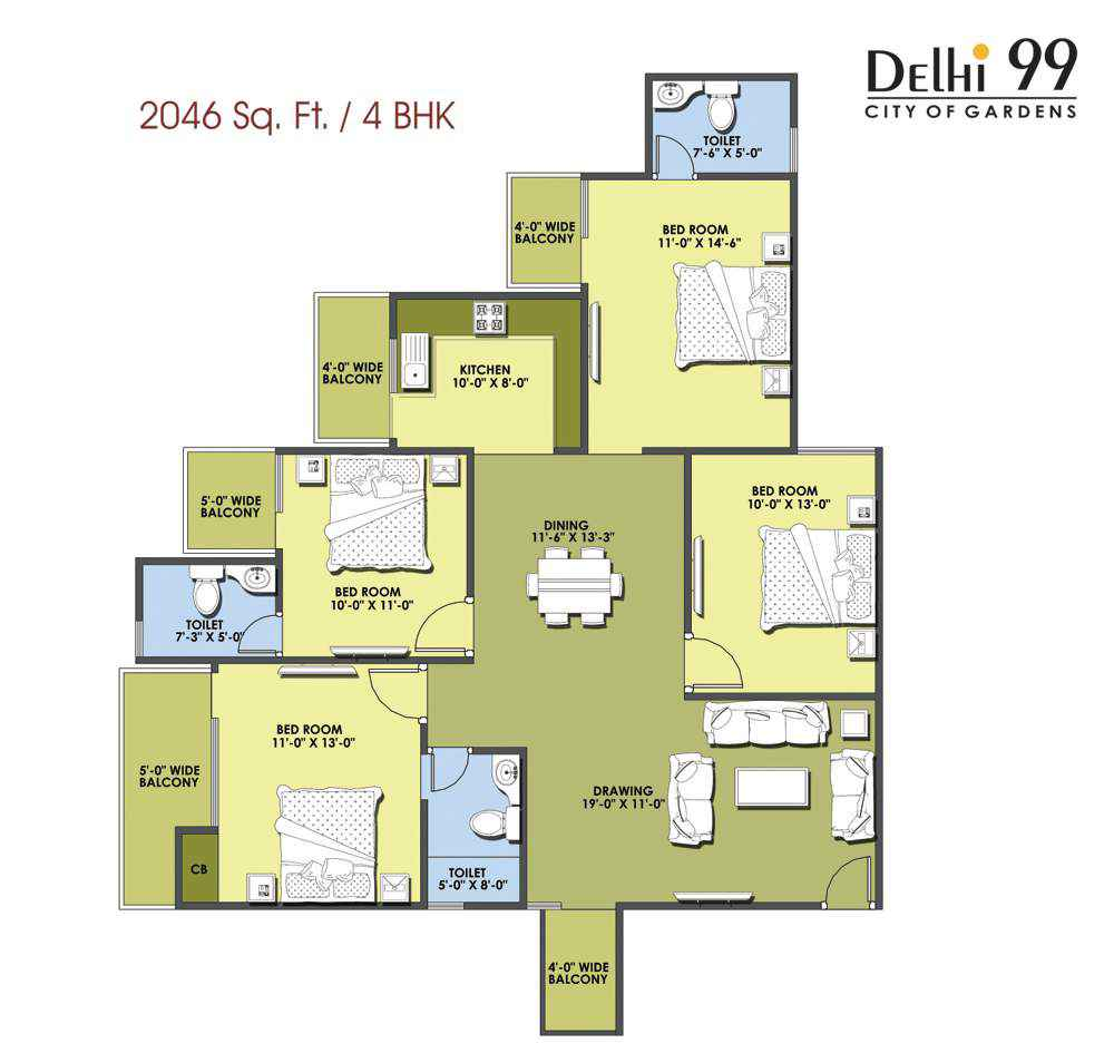 2046-Sq. Ft./ 4 BHK
