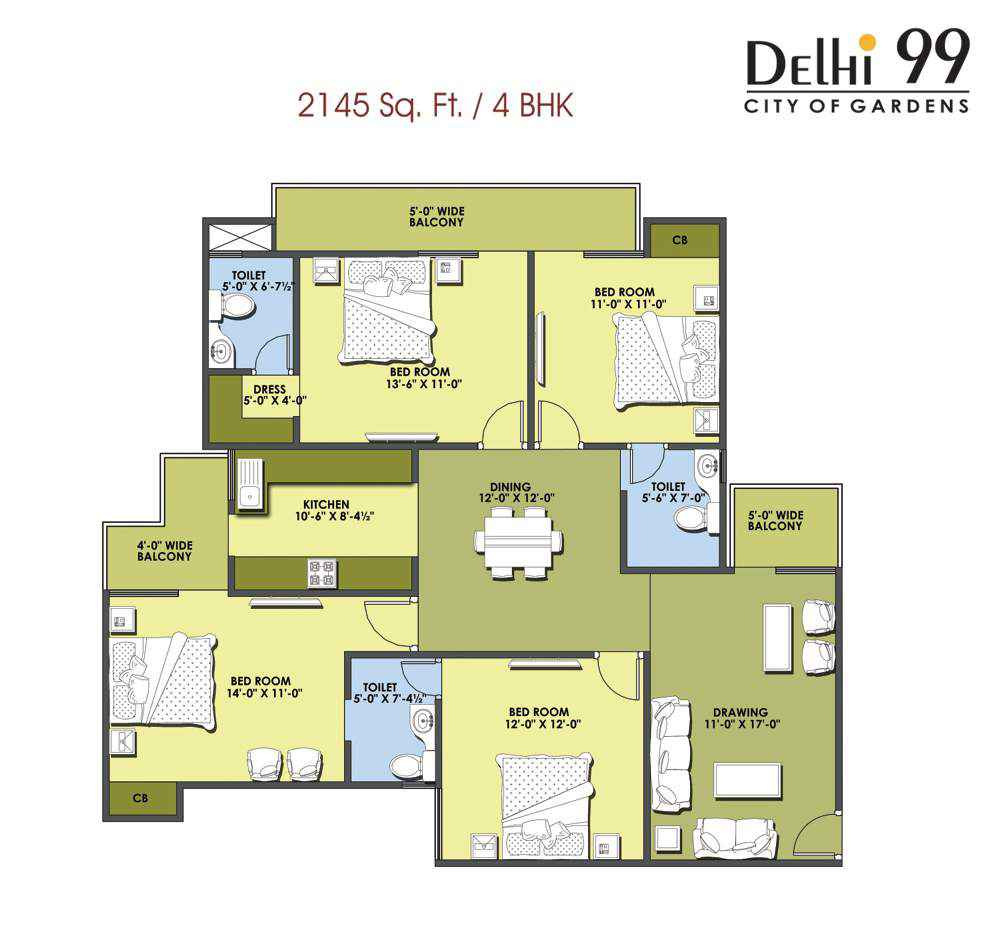 2145-Sq. Ft./ 4 BHK
