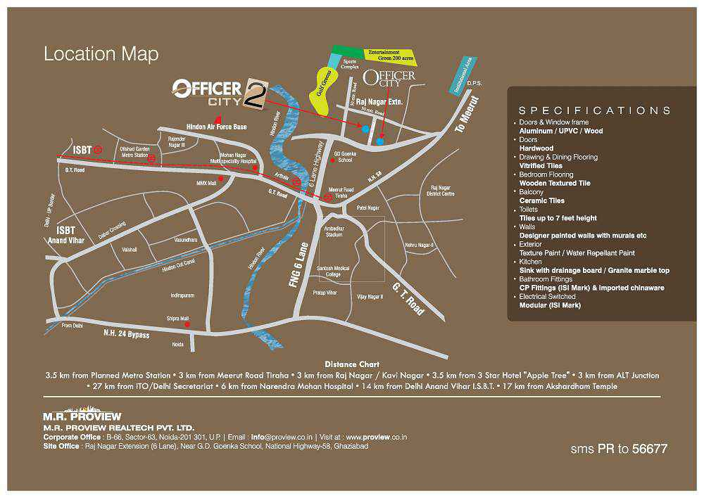 officer city location map